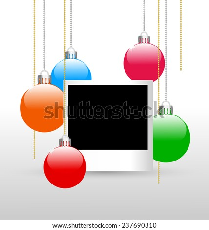 Blank photoframe with christmas multicolored balls on grayscale background - stock photo