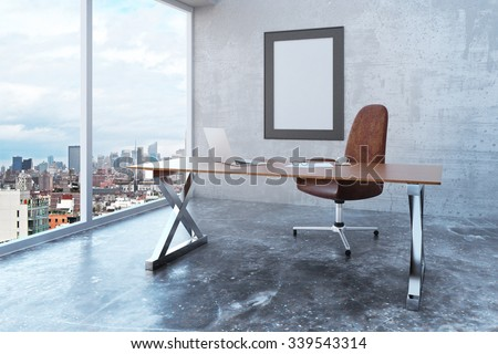 Blank picture frame in loft office with city view, modern furniture and concrete wall and floor, mock up 3D Render - stock photo