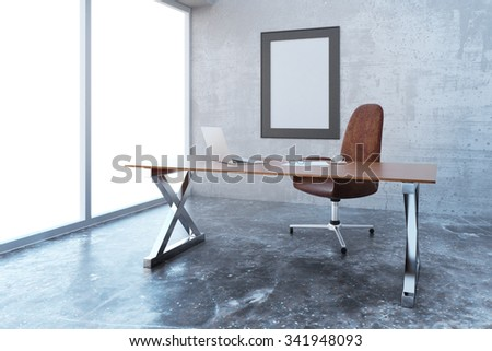 loft style office. blank picture frame in modern loft style office with furniture mock up 3d render e