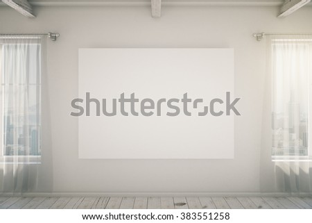 Blank picture frame on the white wall in a loft interior with windows, mock up, 3d render - stock photo