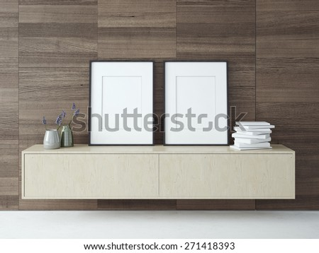 Blank picture frames on a dark wood wall. 3D rendering