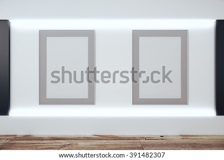 Blank picture frames on white wall and wooden floor, mock up, 3D Render