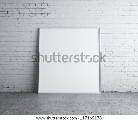 blank picture in concrete room - stock photo