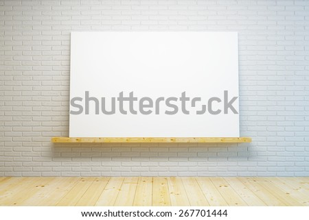 blank picture in the room, 3D rendering - stock photo