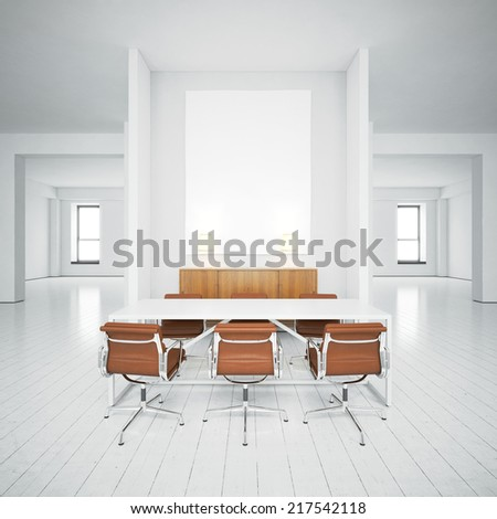 Blank picture in the white office - stock photo