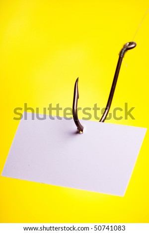 blank piece of paper on hook - stock photo