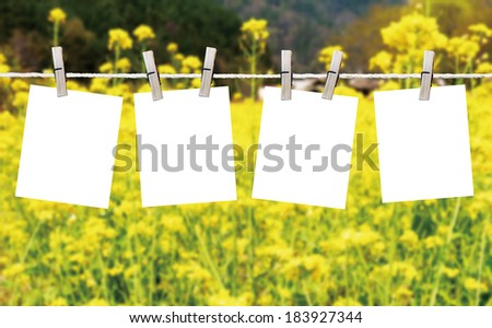 Blank pieces of paper hang on clothesline on sky background - stock photo