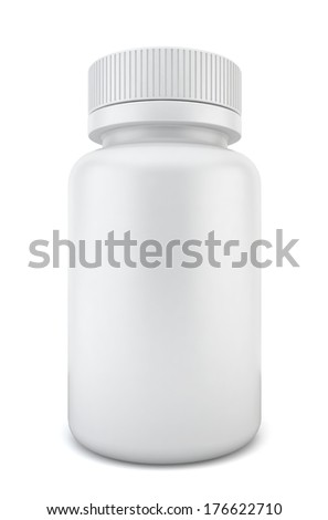 Blank pill container. 3d illustration on white background  - stock photo