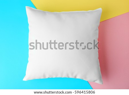 Blank Pillow On Color Paper Background Stock Photo 596415806 ...