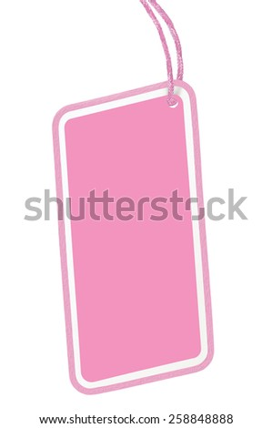 Blank Pink Cardboard Sale Tag Empty Price Label Pricetag Badge Isolated Macro Closeup Vertical Copy Space background  - stock photo
