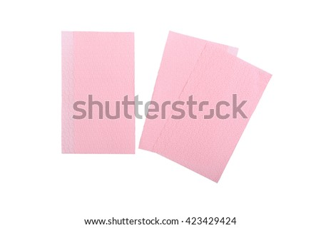 blank pink paper napkins isolated on white background