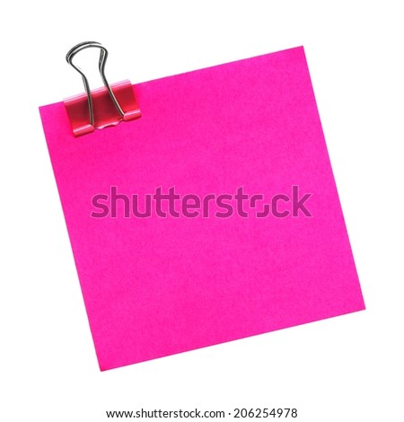 Blank pink sticky note with paper clip isolated on white  - stock photo
