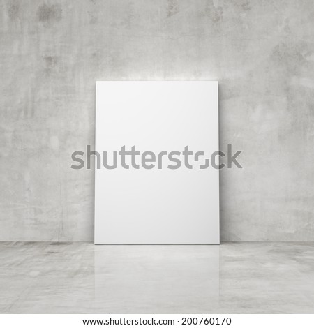 blank placard in a concrete room