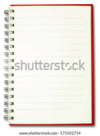 blank plain line spiral red cover notebook isolated on white background - stock photo