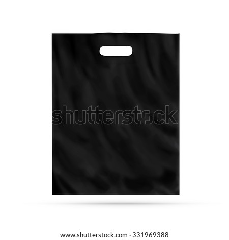 Blank plastic bag mock up isolated. Empty black polyethylene package mockup. Consumer pack ready for logo design or identity presentation. Commercial product food packet handle. Shop polythene bag. - stock photo