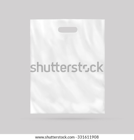 Blank plastic bag mock up isolated. Empty white polyethylene package mockup. Consumer pack ready for logo design or identity presentation. Commercial product food packet handle. Sale packaging mock-up - stock photo