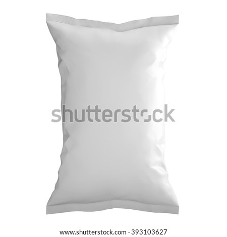 blank plastic bag snack packaging isolated on white