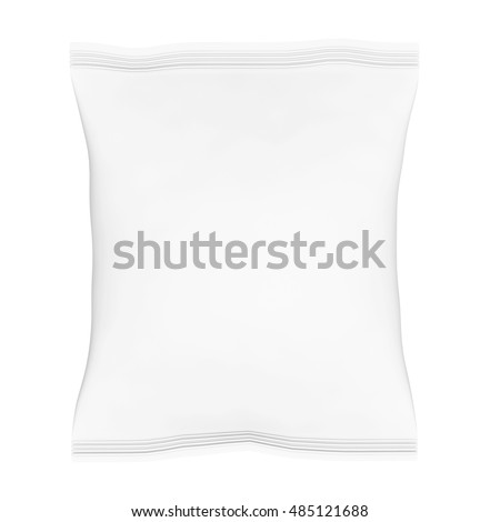Blank Plastic Bag Snack Packaging on a white background. 3d Rendering