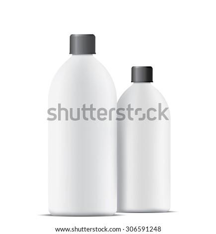 Blank plastic bottles isolated on white background - stock photo