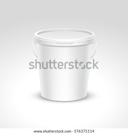 Blank Plastic Bucket Container Packaging Isolated on White Background - stock photo
