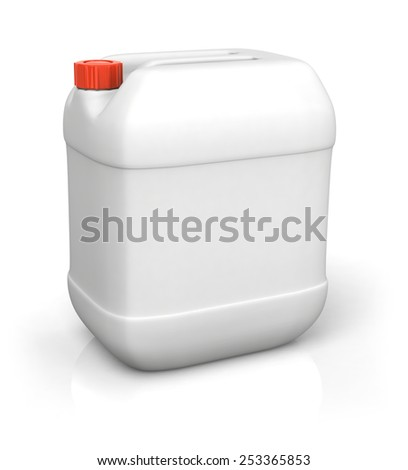 Blank plastic canister for motor oil isolated on white backgroun