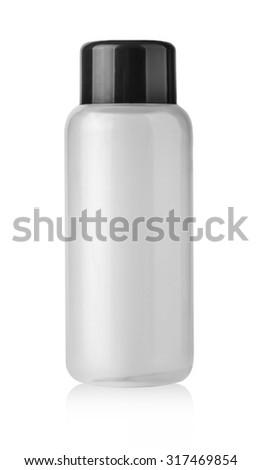 Blank plastic cosmetics bottle isolated on white background with clipping path - stock photo