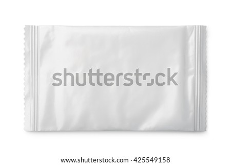 Blank plastic food sachet isolated on white