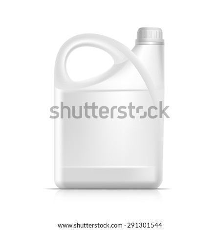 Blank Plastic Jerrycan Canister Gallon Oil Cleanser Detergent Abstergent Isolated - stock photo