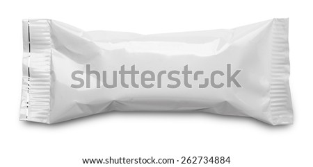 Blank plastic pouch snack packaging isolated on white background - stock photo