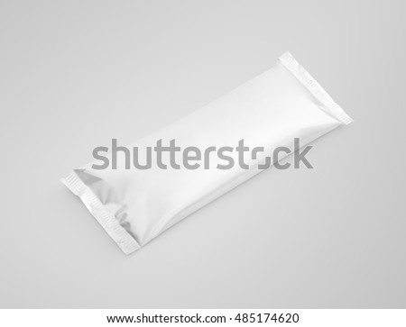 Blank plastic pouch snack packaging on gray background with clipping path