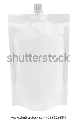 Blank plastic pouch with batcher isolated on white background - stock photo