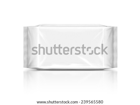 blank plastic wipes pouch isolated on white background - stock photo
