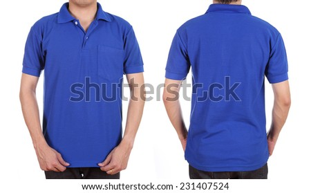 blank polo shirt set (front, back) on man isolated on white background - stock photo