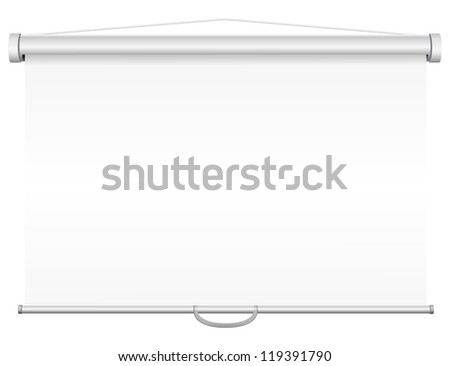 blank portable projection screen illustration isolated on white background - stock photo