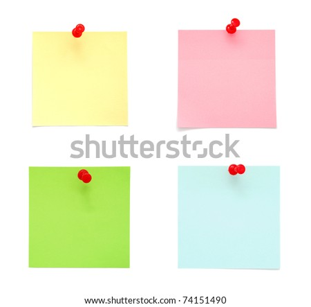 Blank Post-It Notes on white background - stock photo