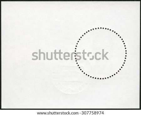Blank postage stamp block souvenir sheet on a black background - stock photo