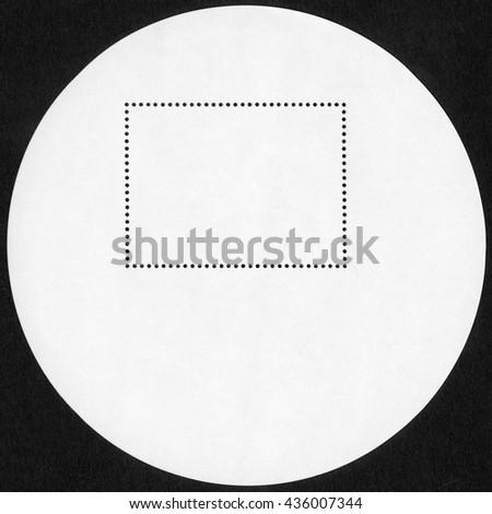 Blank postage stamp block souvenir sheet on black background - stock photo