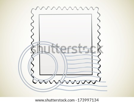 Blank postage stamps. - stock photo