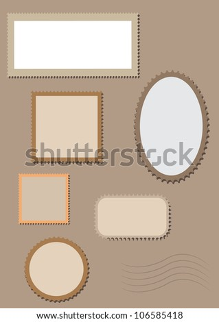 Blank postage stamps  collection isolated. - stock photo