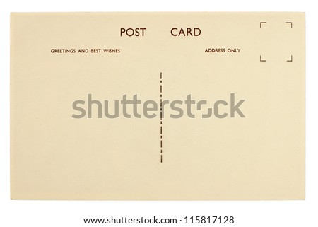 Blank Postcard Back Isolated on White - stock photo