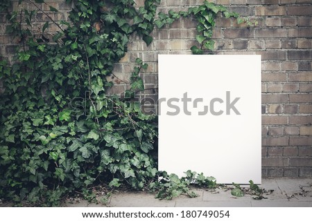 Blank poster and green leafs - stock photo
