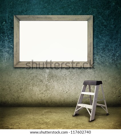 Blank poster and ladder in room. Marketing, advertising, promotion concept. Indoor advertising, point of sale.