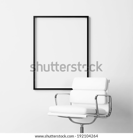 Blank poster and white office chair - stock photo