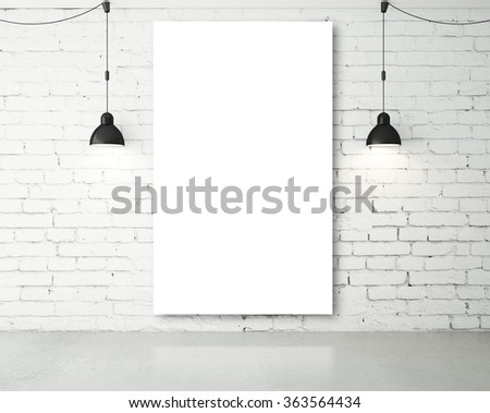 blank poster in room with two ceiling lamp - stock photo