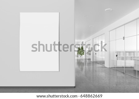 bright office. Blank Poster On The Wall In Bright Office Interior With Clipping Path Around Banner. 3d D