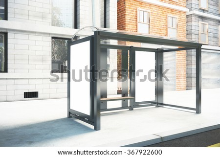 Blank poster on the wall of bus stop on city street, mock up 3D Render - stock photo