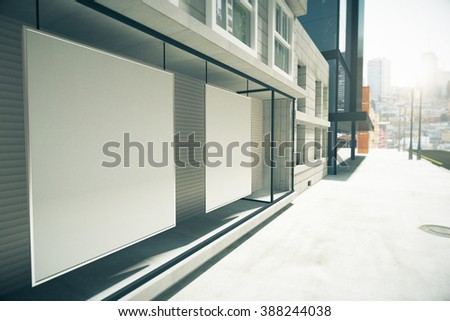 Blank posters in the window on the first floor of building, mock up, 3D Render - stock photo