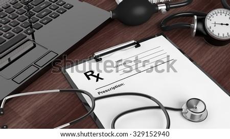 Blank prescription form, medical equipment and laptop on wooden desktop. - stock photo
