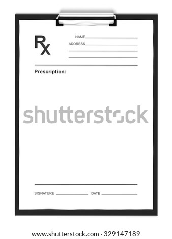blank prescription pad form isolated on stock illustration 329147189 shutterstock. Black Bedroom Furniture Sets. Home Design Ideas