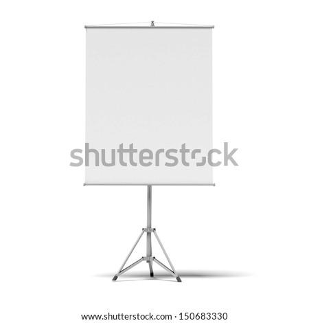 blank presentation roller screen - stock photo